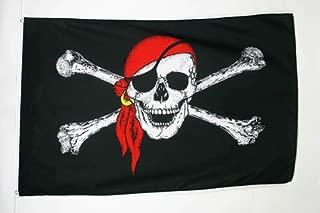 AZ FLAG Pirate Red Bandana Flag 5' x 8' - Jolly Roger Big Flags 150 x 250 cm - Banner 5x8 ft
