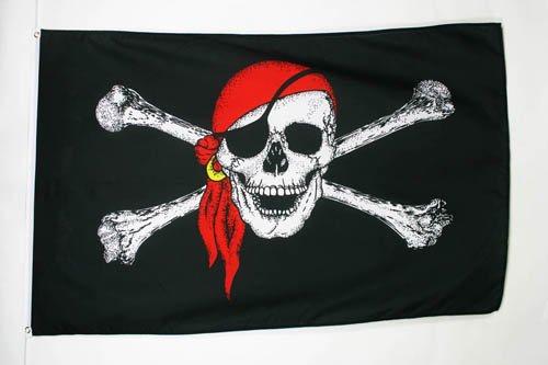 AZ FLAG Flagge Pirat ROTES Halstuch 90x60cm - Piraten Totenkopf Fahne 60 x 90 cm - flaggen Top Qualität