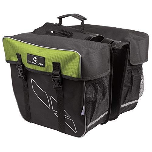 M-Wave Bicycle Cycling Pannier Bag, Black/Green