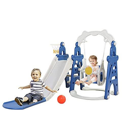MYRCLMY 4 En 1 Subición del Escalador De La Escalera De La Diapositiva, La Diapositiva Independiente Playet Playset con Aro De Baloncesto, Parque Infantil para Niños Al Aire Libre para Exteriores