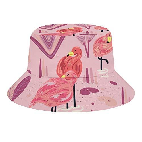 Brand Free Sombrero de pescador unisex con estampado de flamenco, plegable, informal, para viajes, playa, para hombres y mujeres