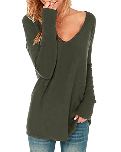 Style Dome Jerseys Mujer Largos Cuello V Manga Sudadera Casual Tops Blusa Camiseta Pull-Over Suéter Verde Militar XXL