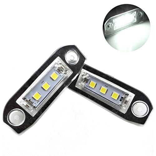 VIGORFLYRUN PARTS LTD 2pcs LED Luz de Matrícula Número de Licencia Plate Lámpara de Luz para V-olvo S80 XC90 S40 V60 XC60 S60 C70 V50 XC70 V70, Sin Error Brillante Color Blanco