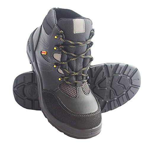 Bota Tipo Borcegui Milenial Negro-Amarillocon Casco de Fibra – Talla 30