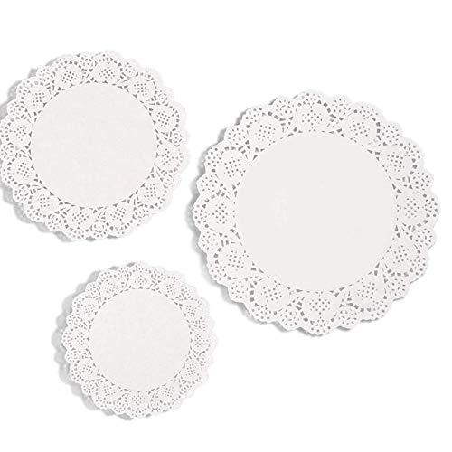 LEBQ 36 Stück weiße Spitze Papier Doily Spitzenuntersetzer Zierdeckchen Untersetzer Deckchen Kuchen Verpackung Papier Pad, 6,5 Zoll, 8,5 Zoll, 10,5 Zoll