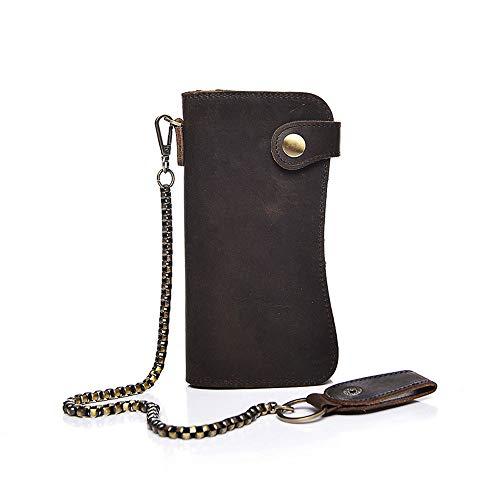 Heren lederen ketting portemonnee echt lederen bifold lange portemonnee met riem ketting vintage punk casual business portemonnees