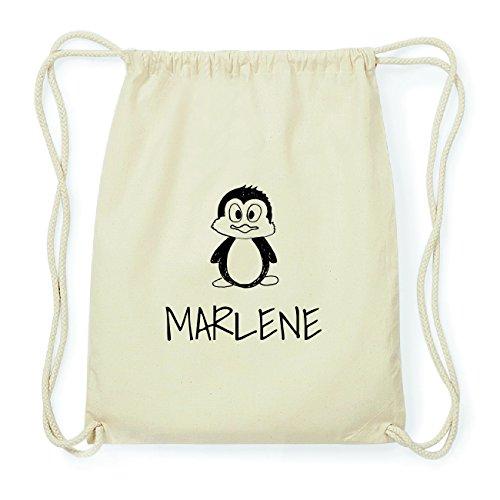 JOllipets Marlene Hipster Turnbeutel Tasche Rucksack aus Baumwolle – Design: Pinguin - Farbe: Natur