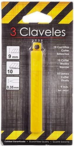 3Claveles 237 - Set de 10 cuchillas para cúter de 9 mm