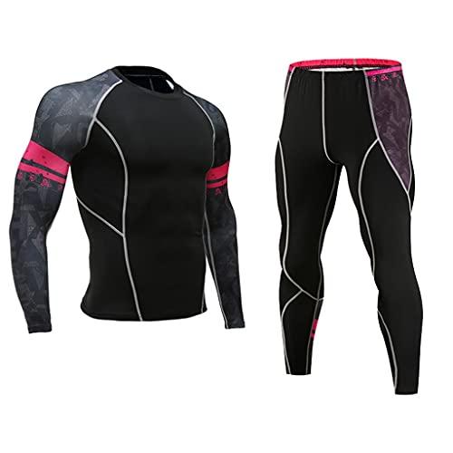 GELTDN Men Thermal Underwear Tight Elastic Fitness Shaper Long Sleeve Undershirt Compression Leggings (Color : G, Size : L Code)