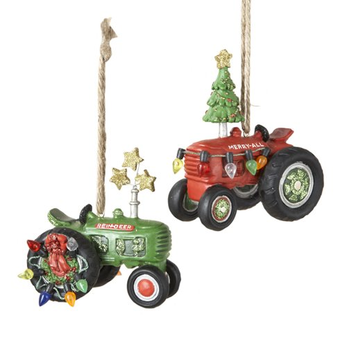 Kurt Adler 3-1/4-Inch Resin Tractor Ornament, Set of 2