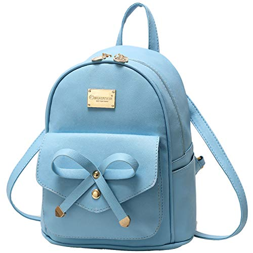 Girls Bowknot Cute Leather Backpack Mini Backpack Purse for Women (Light Blue)