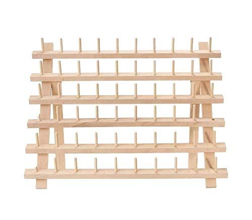 Rejilla de hilo de 60 carretes, rejilla de carrete plegable de madera, rejilla de almacenamiento de carrete grande, organización de almacenamiento de cono de costura, herramientas de artesanía para re