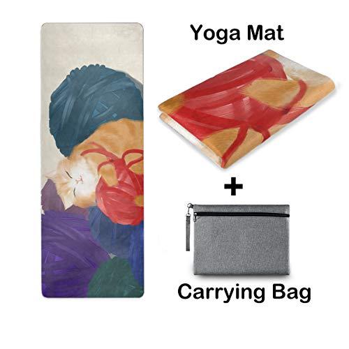UMIRIKO Esterilla de yoga de viaje, esterilla de yoga, antideslizante, plegable, ligera, pilates, fitness, ejercicio, con bolsa de transporte, para mujer, diseño de animales de acuarela 2020689