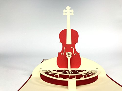 cello music 3D Pop Up Greeting Card Handmade Happy Birthday Wedding Anniversary Friendship Merry Christmas Thanksgiving Thank You Best Wish Good Luck Happy New Year Valentine's Day Red