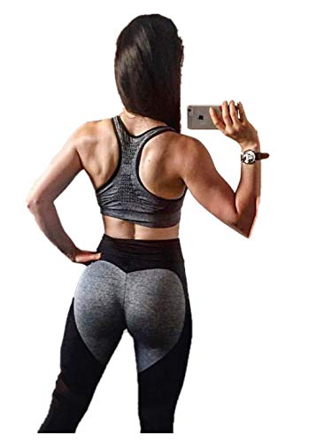 Fliegend Damen High Waist Leggings Yoga Hose Mesh Jogginghose Sporthose Push Up Fitnesshose Laufenhose Herz Patchwork Leggins Workout Gym Skinny Hosen M
