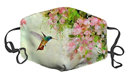 TopA Fashion Face Decoration Cotton Dust Dirt Proof Windshield Unisex Adjust Elastic Bands (Lovely Hummingbird and Pink Flowers)