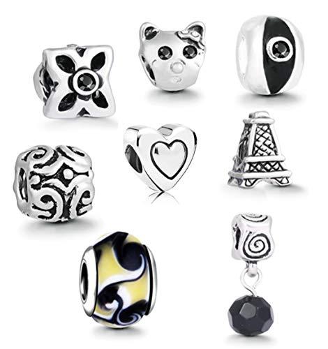 AKKi jewelry Charms Beads Perlen Anhänger Starter-Set mit 8 Motive für Armband und Kette Schmuck Accessoires Bettelarmband Schwarz