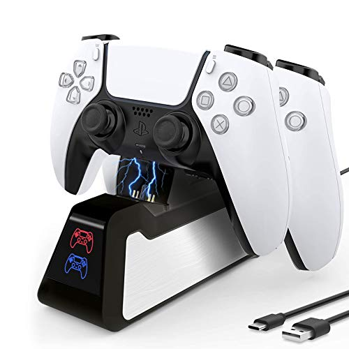 DLseego PS5 Controller Charger Compatible for Playstation 5 Controller, 2021 Newest Update Version USB Charger Charging Docking Station Stand -Black