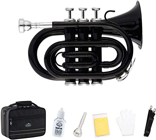 EastRock Pocket Trumpet Brass Bb Trumpet with 7 C Mouthpiece, Hard Case,...