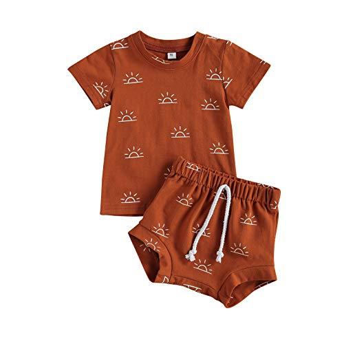 Carolilly Juego de 2 piezas de pijama para bebé, camiseta y pantalones cortos con estampado solar de manga corta para niños marrón 0 meses