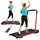 FYC 2 in 1 Folding Treadmill for Home Under Desk 2.5HP Electric Treadmill Workout Foldable Portable Compact Running Machine w/Remote Control 5 Modes&12 Programs for Exercise, Installation-Free (Red)