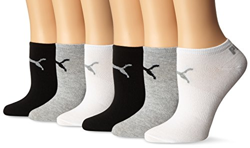 PUMA Women's 6 Pack Runner Socks, Grey White Black, 9-11