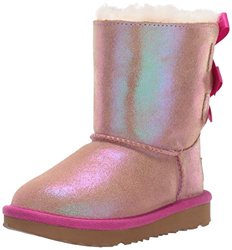 UGG Kids' Bailey Bow II Shimmer Boot, Chestnut/ Fuchsia, 4 M US Big Kid