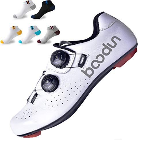 XFQ Zapatos, Zapatos De Ciclismo Bici del Camino De Los Hombres Adultos Unisex Transpirable Antideslizante Ligero Pro Cycling Lock Zapatos con 5 Pares De Calcetines Deportivos,Blanco,43EU