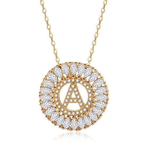 AnazoZ Schmuck Vergoldet Damen Halskette Anhänger 26 Buchstaben Hochzeit Zirkonia Kette Frauen - A