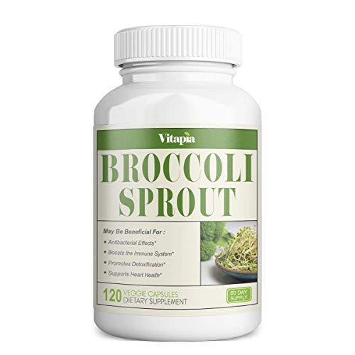 Vitapia Broccoli Sprout 1000mg(4000mg) per Serving - 120 Veggie Capsules - Vegan and Non-GMO - Broccoli Sprout 4:1 Extract - Supports Healthy Detoxification, Anti-Inflammatory, Antioxidant