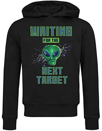 8 bit Pixel Art Alien Waiting For Target Attack Sudadera con Capucha Unisex Large