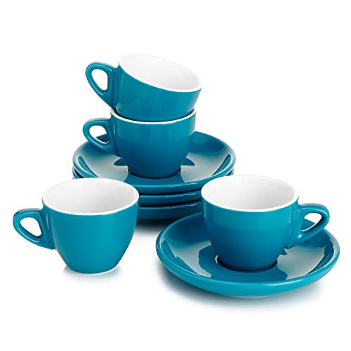 Sweese 401.407 Porcelain Espresso Cups with Saucers - 2 Ounce - Set of 4, Steel Blue