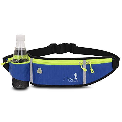 TuTuShop - Riñonera para correr, ligera, ajustable, con correa elástica, soporte para teléfono, riñonera de entrenamiento para hombres, mujeres y niños/as, azul