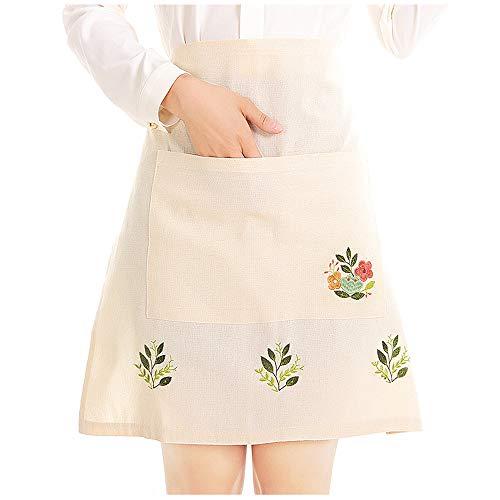 Love Potato Delantal de té bordado de color beige para el hogar, cocina con media cintura para mujer, con bolsillo, 55 x 53 cm