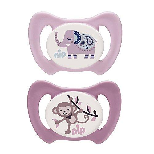 NIP Silikon Dentalschnuller Miss Denti Gr. 2 - mit ersten Zähnchen // 5-13 Mo // der erste Dentalschnuller der den Beißdruck verteilt // 2er Set Girl