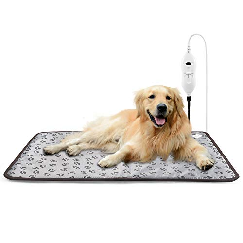 TJOY Dog Heating Pad Extra Large Pet Heated Bed Electric Mat for Outdoor Cat Dog Warming with Chew Resistant Cord and Waterproof Layer(35Wx24L)