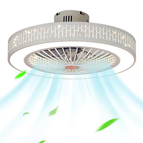 Deckenventilator Mit Beleuchtung LED 220V Einstellbare Windgeschwindigkeit Dimmbare Fernbedienung 32W Moderne Blume Lampe für Schlafzimmer Büro (Bambusblätter)
