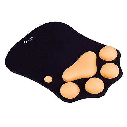 JIALONG Mauspad mit Gelkissen - Ergonomisch Mauspad mit Handgelenkauflage - Mousepad mit Handauflage für Schreibtisch PC Zubehör Dekor - Schwarz
