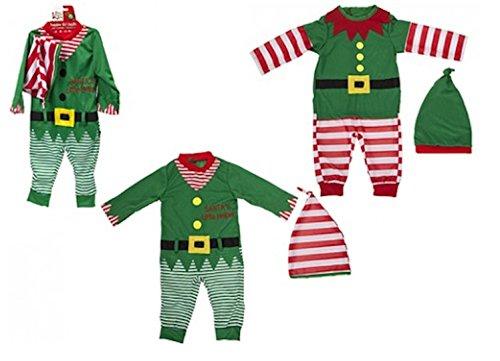 Bambino / Baby Elf Outfit di Natale. Rompicapo e Cappello. 2 disegni (6-9 mesi, rosso a righe)