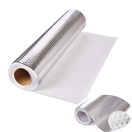 Kitchen-dream Carta da Parati del Foglio di Alluminio Carte da Parati autoadesive Impermeabili stagnola dargento Prova di umidità antiolio Adesivi murali per Cucina Armadio Bagno
