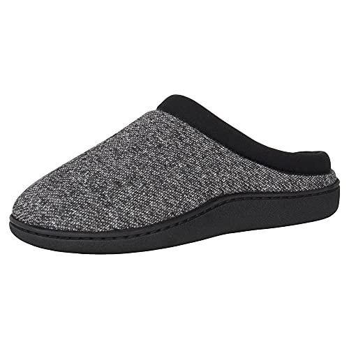 Hanes Comfort Soft Memory Foam Indoor Outdoor Clog Slipper Shoe - Men's and Boy's Sizes, Black, Large
