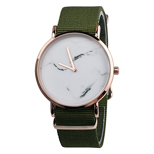 Womens Marble Surface Quartz Watch,Vickyleb Analog Watches,Luxury Watches with Round Dial Case,Comfortable Stainless Steel Band Leather Movement Fashion Business Casual Wristwatch (T6-Green)