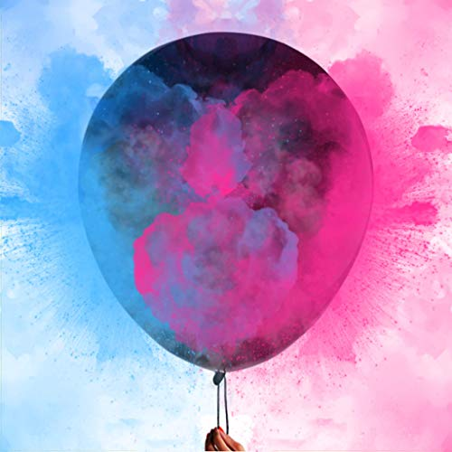 Nibana 36 Inches Gender Reveal Balloons - Come with Pink, Blue Powder and 3 Jumbo Black Balloons