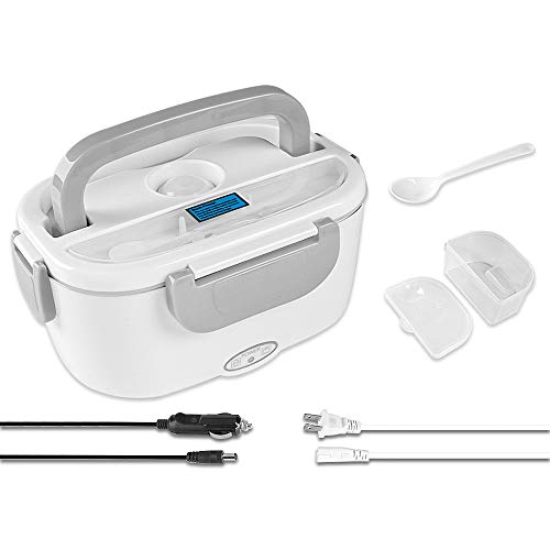 Electric Lunch Box - Toursion Portable Food Heater 2 in 1 for Car/Truck and Work 110V & 12V-24V 40W, Removable Stainless Steel Portable Food Warmer 1.5L, Spoon and 2 Compartments Included (Gray)