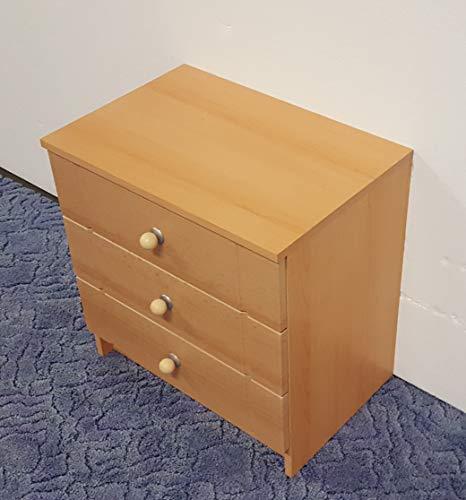 Nachttisch 3 Schubladen Buche Dekor