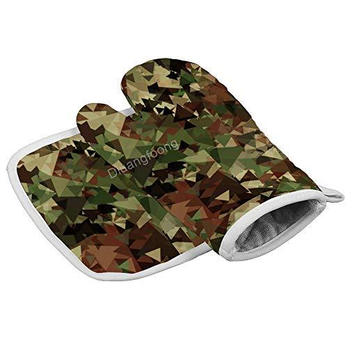 Diuangfoong Camouflage-Muster, hitzebeständige Ofenhandschuhe, Topfhandschuhe, Untersetzer, Küche, Kochwerkzeug für Mikrowelle, Backen, Grillen, Männer und Frauen, 2-teiliges Set