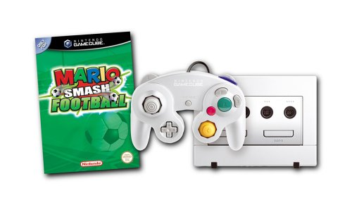 White GameCube Konsole mit Mario smash football - PAL