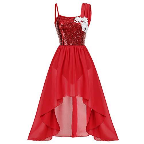 FYMNSI Vestido de danza para adultos, moderno, contemporáneo, con apliques de flores, lentejuelas brillantes, vestidos de gasa