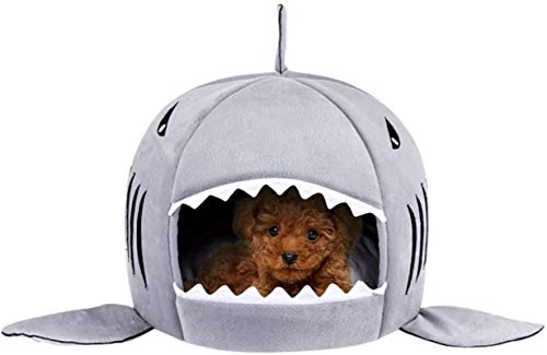 TORDES Dog Bed Washable Shark Cat Bed Covered Cave House for Small Pets up to 12lbs with Removable Cushion and Water Resistant Bottom