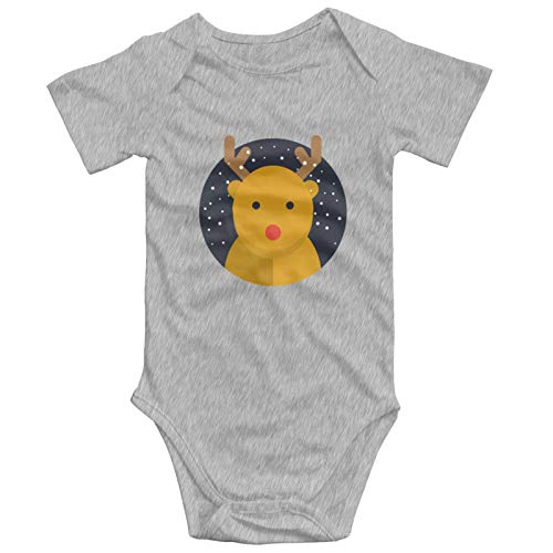 SLADDD1 Reindeer Baby Onesies Cotton Short Sleeve Baby Unisex Body Suits for Baby Girls Baby Boys Gray